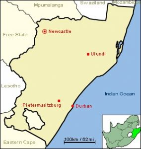 Map of KwaZulu Natal province of South Africa, courtesy of Jcw69 (CC BY-SA-3.0, via Wikimedia Commons)